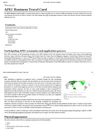 Apec Business Travel Card Wikipedia International Law