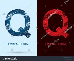 Q ,Font Cool and Hot, Ice and Fire, grunge destroy, graphic vector