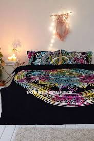 black multi tie dye long leafs circle mandala duvet covers with set of 2 pillow covers