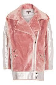 metallic faux fur biker jacket