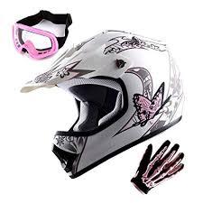 Wow Youth Motocross Helmet Bmx Mx Atv Dirt Bike Helmet Matt Butterfly Pink White Goggles Skeleton Pink Glove Bundle