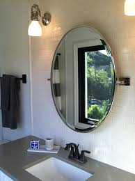 bathroom vanity mirror oval. Framed Oval Home Depot Bathroom Mirrors Above Single Sink Vanity Under Wall Sconces In White Subway Tiles Mirror L