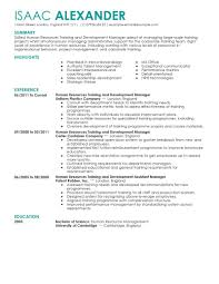human resources resume examples human resources sample training and development resume example