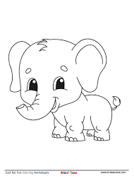 Big elephant in the savanna. Baby Elephant Cartoon Coloring Page Kidzezone
