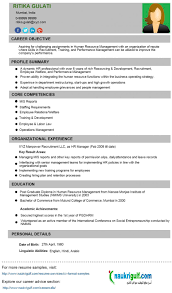 Hr Cv Format Resume Sample Naukrigulf Com Australia It Job Human