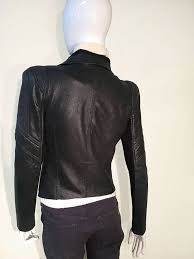 bcbgmaxazria black leather asymmetric front zip cropped orson jacket with d collar