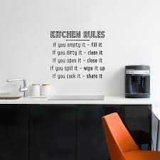 Empty Kitchen Wall Kitchen Rules Wall Quote Decal