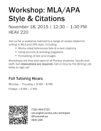 Mlaapa Style And Citation Workshop Nov18th Purdue Ie Undergrad