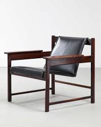 sergio rodrigues jacaranda and leather lounge chair 1960s