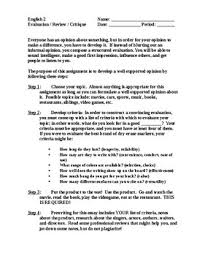 Product Evaluation Essay Guidelines Handout