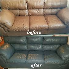 leather paint for sofa tan couch changed to medium grey with slate dye before and after leather paint for sofa