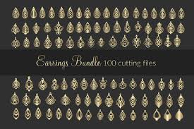 100 svg leather earrings bundle cricut maker laser cut example image 1