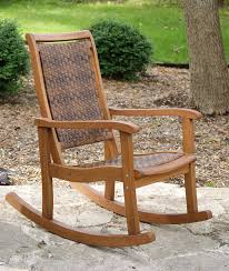 com outdoor interiors 21095rc all weather wicker mocha and eucalyptus rocking chair patio rocking chairs garden outdoor