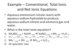 example conventional total ionic and net ionic equations