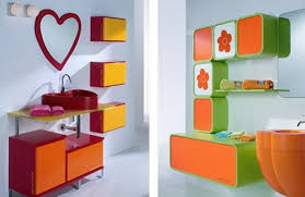 Orange Bathroom Decorating Design With Modern Cabinet And Heart