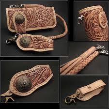 genuine cowhide leather biker wallet western scroll carved custom handmade wallet tan dark brown wild