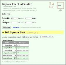 floor square footage calculator by calculate area square