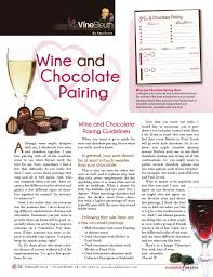 Wine And Chocolate Pairings Chart February 2014 Absolutely Brazos Magazine By Absolutely