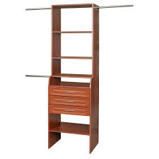 Closet Tower With Drawers Corner Brown Wooden Shelves Combined With Drawers Also Hanging