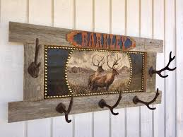 Western Coat Rack Rustic Barn Wood Personalized Lodge Or Cabin Elk Coat Rack 3