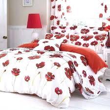 red fl coverlets poppies bedding white poppy duvet quilt cover set new