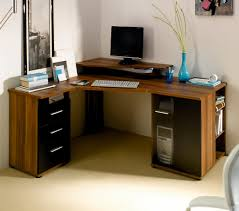um size wood finishing corner standing desk with elevated panel for monitor and shelf