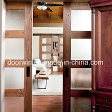american oak wood frame shower barn door sliding frosted glass door from china
