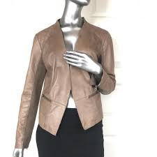 halogen size l nordstrom women tan leather tapered open moto jacket blazer large