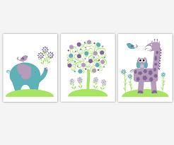 baby girls canvas nursery wall art purple lavender green teal tree elephant giraffe jungle safari zoo  on purple and green canvas wall art with baby girls canvas nursery wall art purple lavender green teal tree