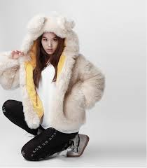 korean style winter warm faux fur coat white women with rabbit ear hood causal 2016 new
