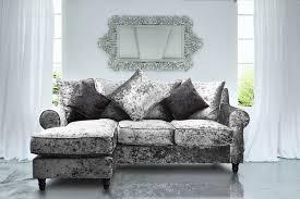 crushed velvet glitz silver corner sofa st moritz with reversible chaise