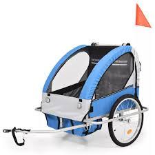 2 In 1 Kinder Veloanhänger Kinderwagen Blau Und Grau