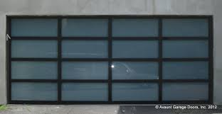 contempora ry full view glass garage door with black anodized aluminum frames and white laminated glass 16 x7
