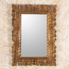 wood wall mirror. Naturally Baroque Hand Carved Conacaste Wood Wall Mirror