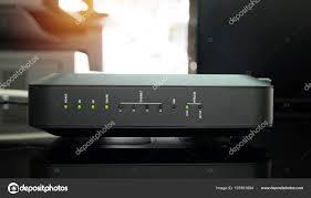 Green Light Wireless New Black Wifi Router Green Light Office Stock Photo