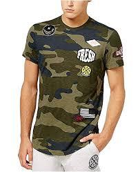 Amazon Com American Rag Mens Patches Camo T Shirt Moss
