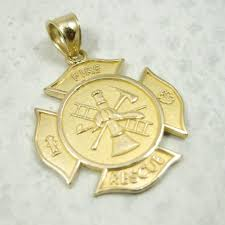 new solid 10k yellow gold firefighter fire rescue pendant charm