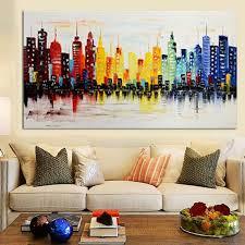 Living Room Artwork Decor 120x60cm Modern City Canvas Abstract Painting Print Living Room