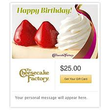 amazon the cheesecake factory birthday strawberry cheesecake gift cards e mail delivery gift cards