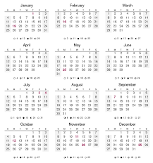 year calender 12 months of the year