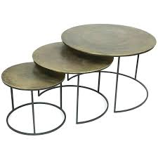 riverside furniture 3 piece nesting coffee table set copper oxidized of