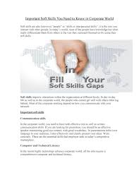 important soft skills you need to know in corporate world by important soft skills you need to know in corporate world by sgvude issuu