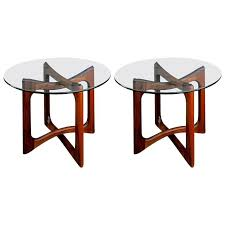 pair of walnut and glass end tables by adrian pearsall for