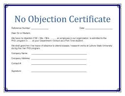 no objection letter sample for job no objection certificate templates property study