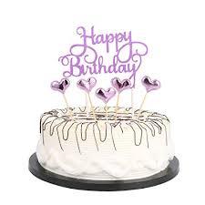Amazoncom Purple Happy Birthday Cake Toppers Lettershappy