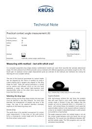 contact angle measurement in practice 4 measuring with method but with which one 1 4 pages