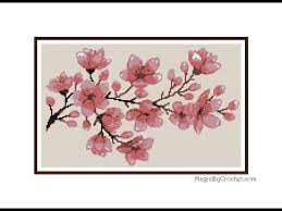 Large Cherry Blossom Cross Stitch Chart Pattern Pdf Instant
