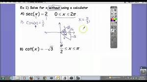 solving trig equations without a calculator