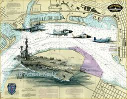 Boat Chart Details About Uss Midway Cv 41 Print Of Painting On San Diego Nautical Chart By Adam Koltz