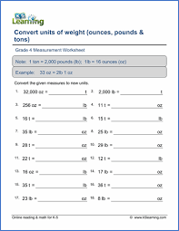 Ounces To Pounds Chart Grade 4 Measurement Worksheets Free Printable K5 Learning